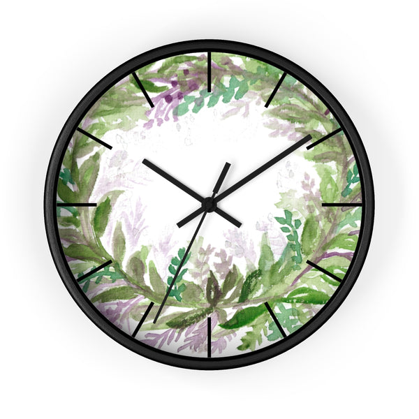 French Lavender Purple Floral Rose Print 10 inch Diameter Wall Clock - Made in USA-Wall Clock-Black-Black-Heidi Kimura Art LLC