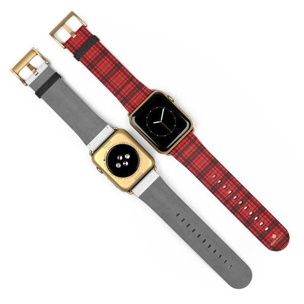 Scottish Red Tartan Plaid Print 38mm/42mm Watch Band For Apple Watch- Made in USA-Watch Band-Heidi Kimura Art LLC