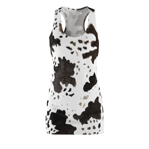 Cow Print Black White Brown Women's Long Sleeveless Racerback Dress -Made in USA (XS-2XL)-Women's Sleeveless Dress-L-Heidi Kimura Art LLC
