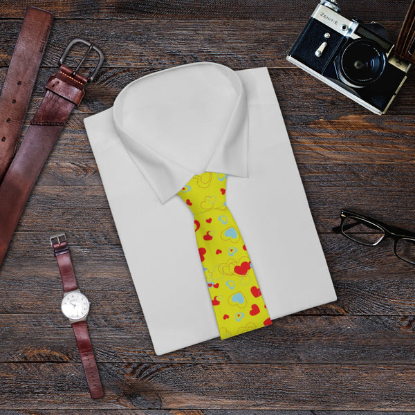 Yellow Red Heart Shaped Print Classic Valentine's Day Designer Necktie- Made in USA-Necktie-One Size-Heidi Kimura Art LLC