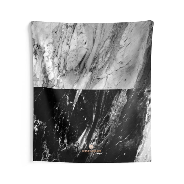 Grey Black Marble Print Designer Indoor Wall Tapestries- Made in USA-Home Decor-68x80-Heidi Kimura Art LLC