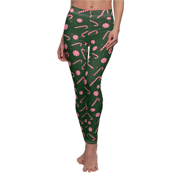 Green Red and White Candy Cane Women's Christmas Holiday Themed Casual Leggings-Casual Leggings-White Seams-M-Heidi Kimura Art LLC