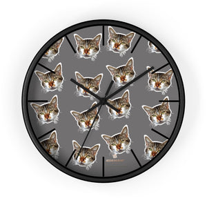 "Gray Cat Print Wall Clock, Cute Calico Cat Unique 10"" Dia. Indoor Wall Clocks- Made in USA-Wall Clock-10 in-Black-Black-Heidi Kimura Art LLC"