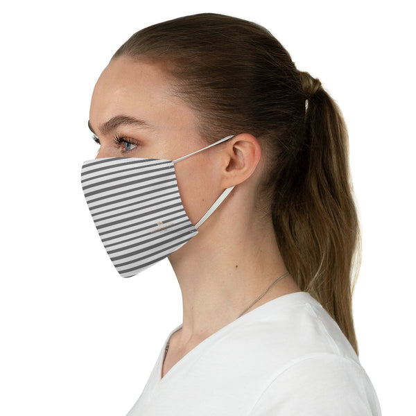 "Gray Horizontal Striped Face Mask, Designer Modern Minimalist Designer Horizontally Stripes Fashion Face Mask For Men/ Women, Designer Premium Quality Modern Polyester Fashion 7.25"" x 4.63"" Fabric Non-Medical Reusable Washable Chic One-Size Face Mask With 2 Layers For Adults With Elastic Loops-Made in USA"