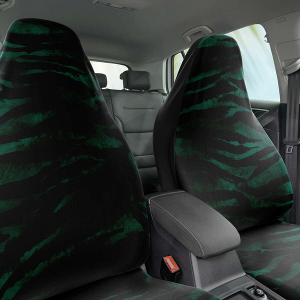 Tiger Car Seat Cover, Green Tiger Stripe Bestselling Animal Print Essential Premium Quality Best Machine Washable Microfiber Luxury Car Seat Cover - 2 Pack For Your Car Seat Protection, Cart Seat Protectors, Car Seat Accessories, Pair of 2 Front Seat Covers, Custom Seat Covers