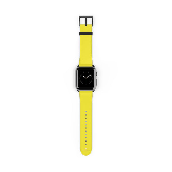 Yellow Solid Color 38mm/42mm Watch Band Strap For Apple Watches- Made in USA-Watch Band-38 mm-Black Matte-Heidi Kimura Art LLC
