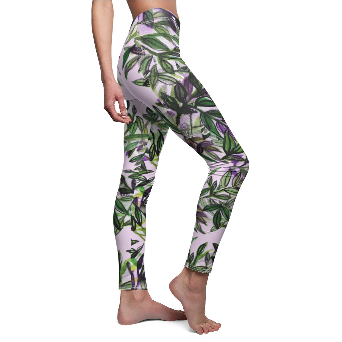 Green Tropical Leaves Print Women's Casual Leggings, Fancy Dressy Pants, Made in USA-Casual Leggings-White Seams-M-Heidi Kimura Art LLC