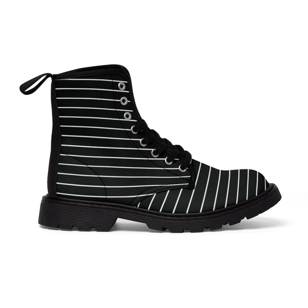 Black Striped Print Men's Boots, Black White Horizontal Stripes Modern Men's Winter Hiking Canvas Boots, Fashionable Anti Heat + Moisture Designer Comfortable Stylish Men's Winter Hiking Boots Shoes For Men (US Size: 7-10.5)