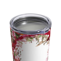 Red Rose Floral Print Stainless Steel Tumbler 10oz w/ See-through Plastic Lid