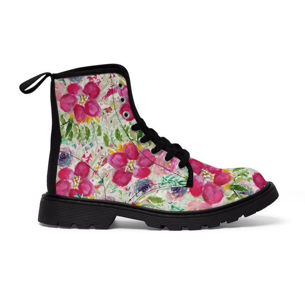 Pink Floral Print Men's Boots, Best Hiking Winter Boots Laced Up Shoes For Men-Shoes-Printify-Heidi Kimura Art LLC