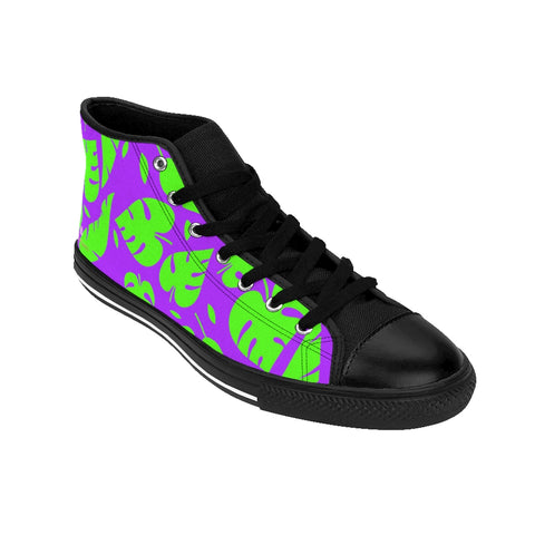 Green Tropical Leaf Men's High-top Sneakers, Green Purple Hawaiian Style Leaves Print Designer Men's High-top Sneakers Running Tennis Shoes, Floral High Tops, Mens Floral Print Shoes, Hawaiian Style Tropical Leaf Print Sneakers For Men (US Size: 6-14)