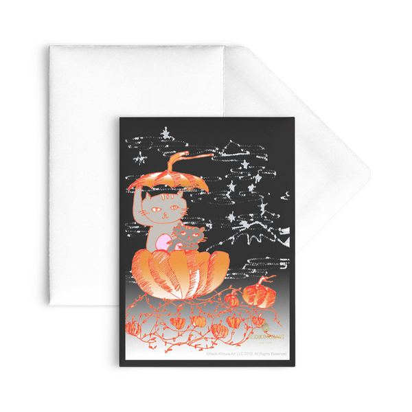 Pumpkin Kittens For Fall, Flat Greeting Post Cards, Made in USA, Sets of 10pcs, 30pcs, 50pcs-Cards-Heidi Kimura Art LLC