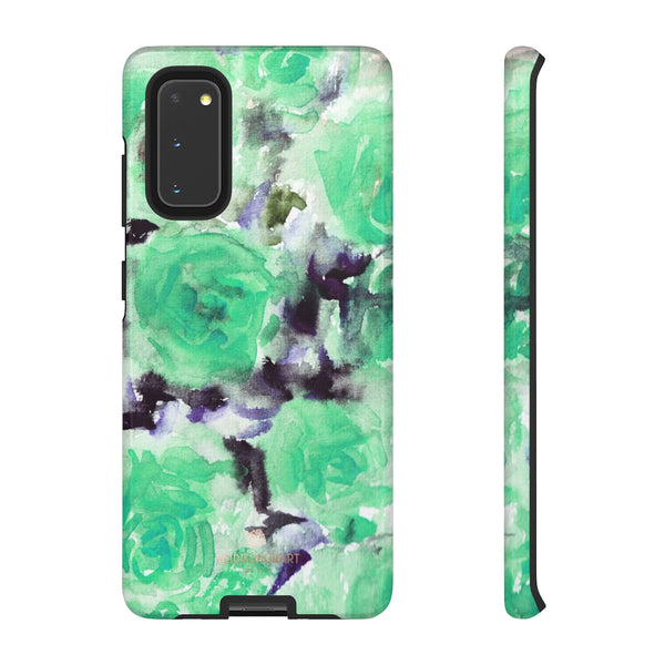 Turquoise Floral Print Tough Cases, Designer Phone Case-Made in USA-Phone Case-Printify-Samsung Galaxy S20-Glossy-Heidi Kimura Art LLC