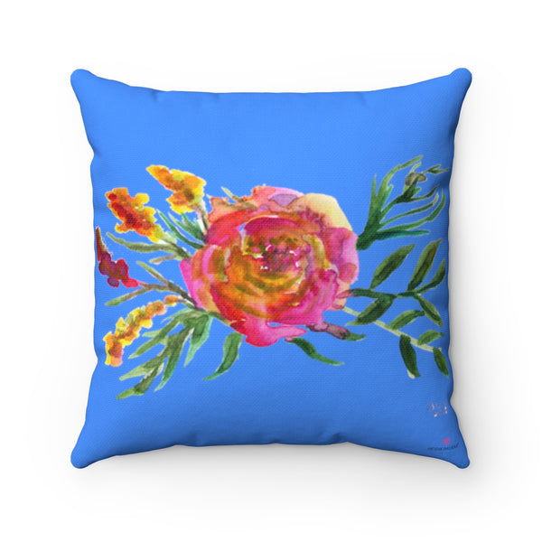 "Red Rose Girlie Floral Wreath Blue Spun Polyester Square Pillow 14""/16""/18""/20""-Pillow-Heidi Kimura Art LLC"