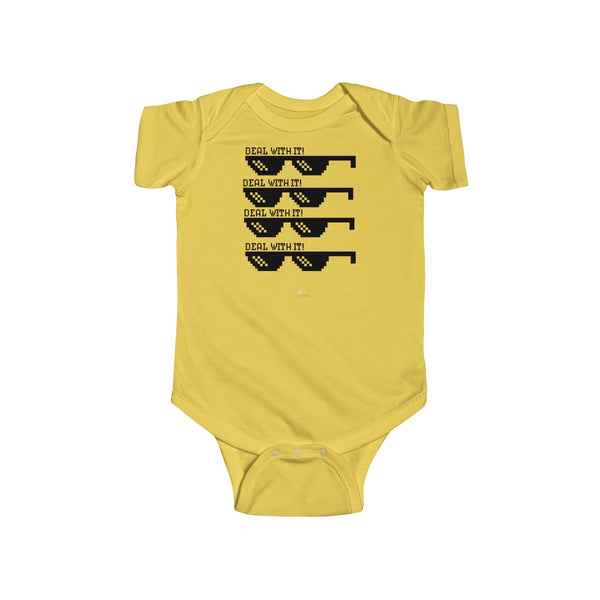 Deal With It Funny Infant Fine Jersey Regular Fit Unisex Cute Cotton Bodysuit - Made in UK-Infant Short Sleeve Bodysuit-Butter-NB-Heidi Kimura Art LLC