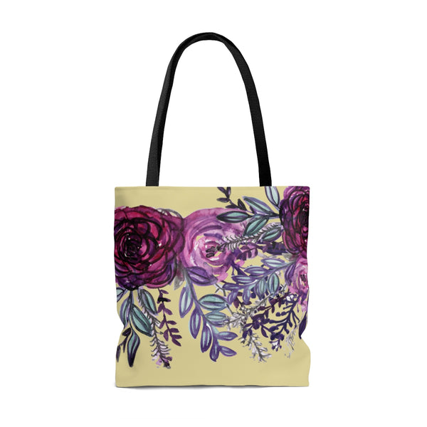 Pastel Yellow Rose Flower Floral Print Designer Women's Tote Bag - Made in USA-Tote Bag-Heidi Kimura Art LLC