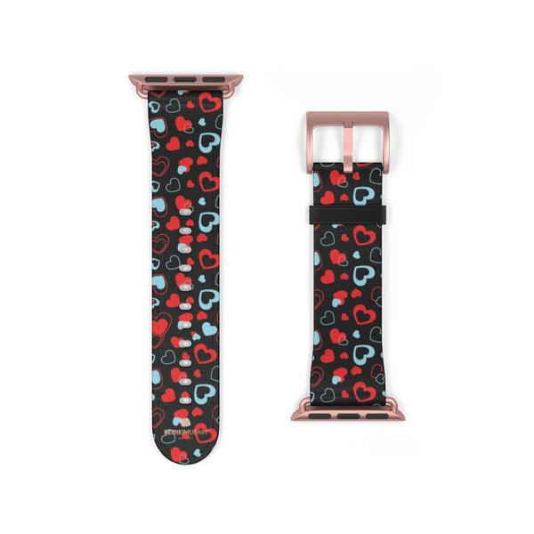 Black Red Hearts Shaped V Day 38mm/42mm Watch Band For Apple Watch- Made in USA-Watch Band-38 mm-Rose Gold Matte-Heidi Kimura Art LLC