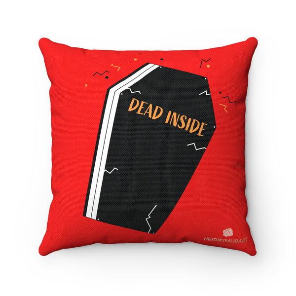 Dead Inside Red Coffin Print Halloween Premium Spun Polyester Square Pillow- Made in USA-Pillow-Heidi Kimura Art LLC