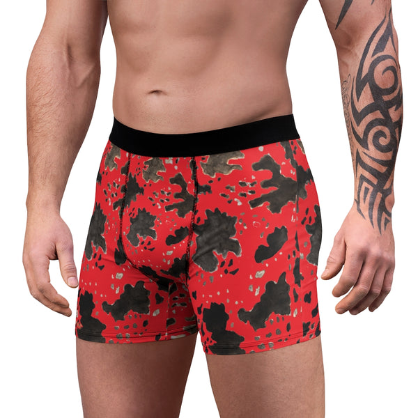 Red Cow Print Men's Underwear, Animal Print Fetish Print Designer Fashion Underwear For Sexy Gay Men, Men's Gay Fetish Party Erotic Boxer Briefs Elastic Underwear (US Size: XS-3XL)
