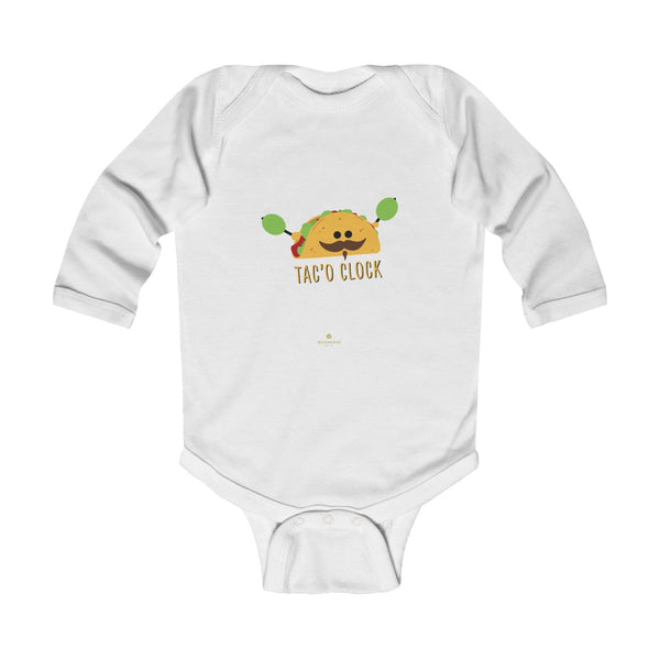 Taco Cute Funny Baby Boy or Girls Infant Kids Long Sleeve Bodysuit - Made in USA-Infant Long Sleeve Bodysuit-White-NB-Heidi Kimura Art LLC