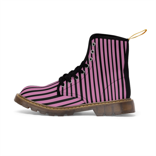 Pink Striped Print Men's Boots, Black Stripes Best Hiking Winter Boots Laced Up Shoes For Men-Shoes-Printify-Heidi Kimura Art LLC
