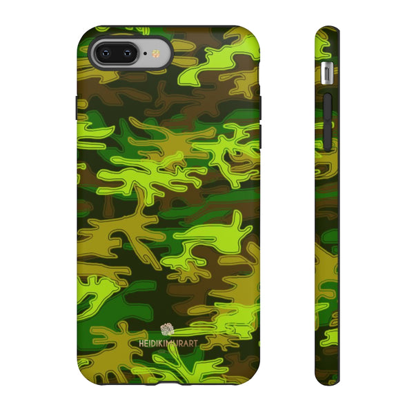 Green Camouflage Phone Case, Army Military Print Tough Designer Phone Case -Made in USA-Phone Case-Printify-iPhone 8 Plus-Matte-Heidi Kimura Art LLC