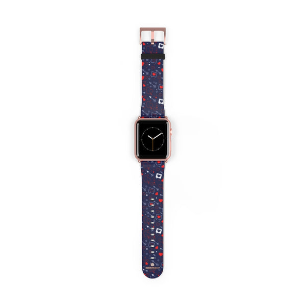 Fun Red Hearts Shaped V Day 38mm/42mm Watch Band For Apple Watch- Made in USA-Watch Band-42 mm-Rose Gold Matte-Heidi Kimura Art LLC
