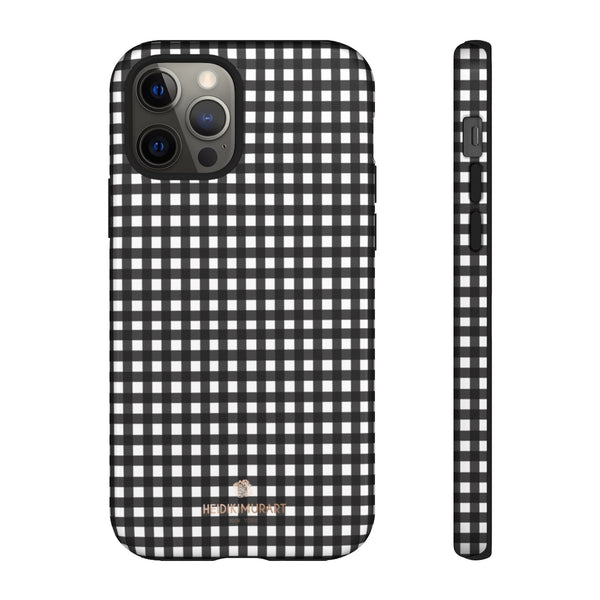 Buffalo Plaid Print Phone Case, Black White Tough Designer Phone Case -Made in USA-Phone Case-Printify-iPhone 12 Pro-Glossy-Heidi Kimura Art LLC