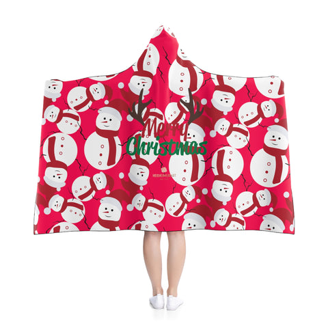 Red Festive Lightweight Christmas Red Snowman Holiday Party Hooded Blanket-Hooded Blanket-Heidi Kimura Art LLC