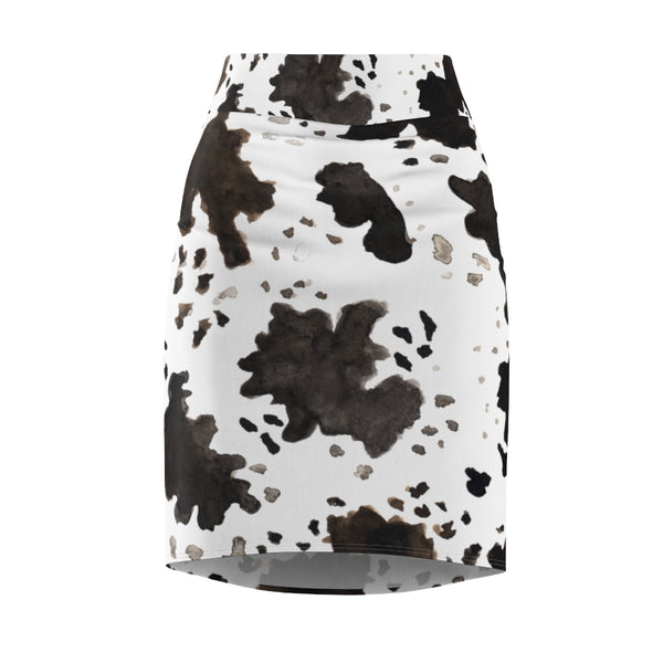 Akane Cow Print White Brown Black Designer Women's Pencil Skirt - Made in USA (Size XS-2XL)
