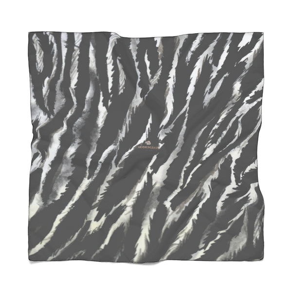 "Black Tiger Stripe Poly Scarf, Delicate Lightweight Polyester Designer Scarves- Made in USA-Accessories-Printify-Poly Voile-50 x 50 in-Heidi Kimura Art LLCZebra Stripe Poly Scarf, Animal Print Lightweight Delicate Sheer Poly Voile or Poly Chiffon 25""x25"" or 50""x50"" Luxury Designer Fashion Accessories- Made in USA, Fashion Sheer Soft Light Polyester Square Scarf"