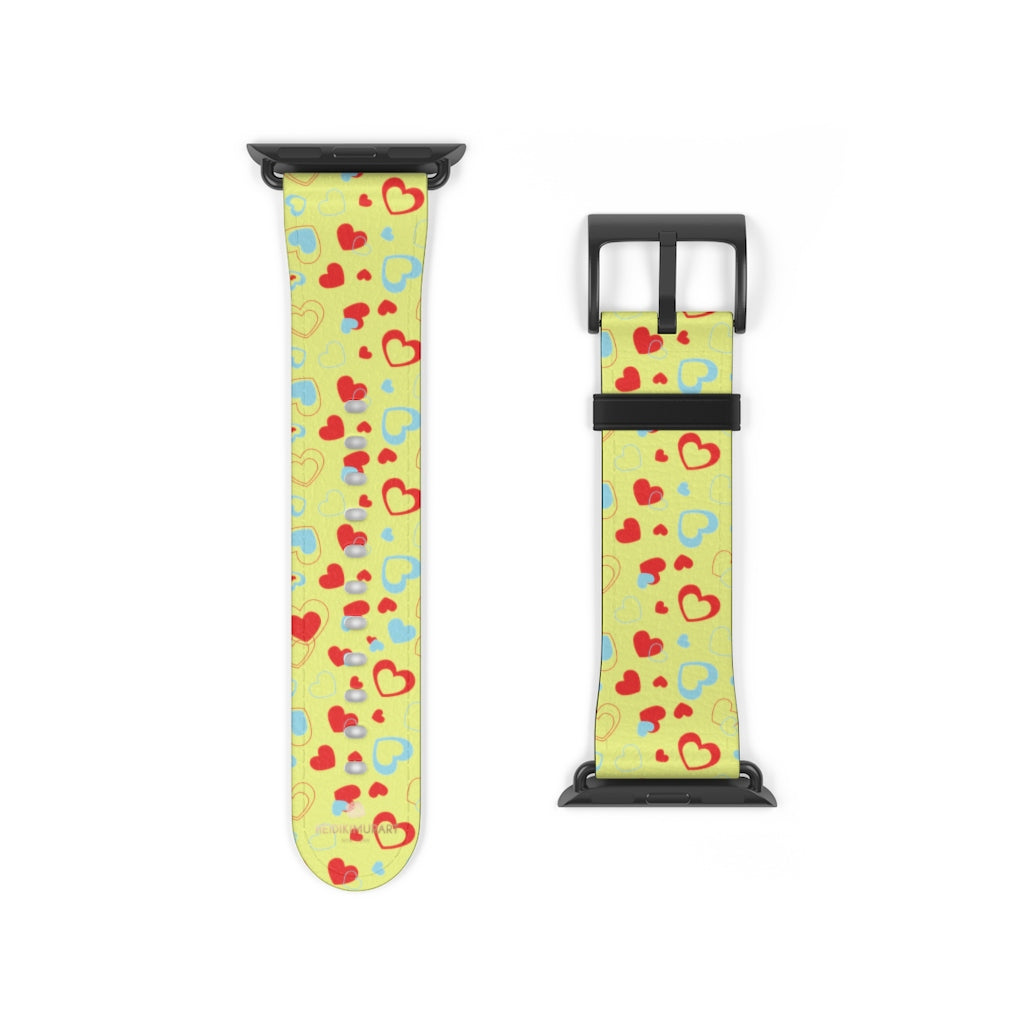 Light Yellow Red Hearts Shaped Valentines Day Print Premium 38mm/42mm Watch Band- Made in USA-Watch Band-38 mm-Black Matte-Heidi Kimura Art LLC