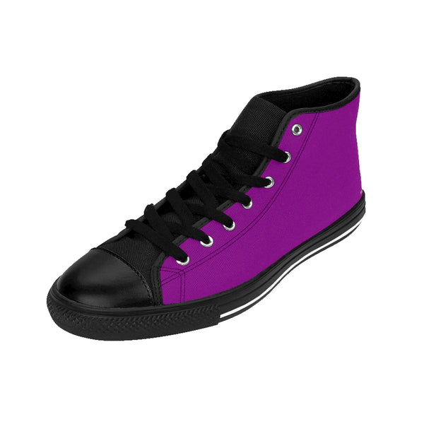 Imperial Purple Queen Solid Color Women's High Top Sneakers Running Shoes-Women's High Top Sneakers-Heidi Kimura Art LLC Purple Women's Running Shoes, Imperial Purple Queen Solid Color Women's High Top Sneakers Running Shoes (US Size: 6-12)