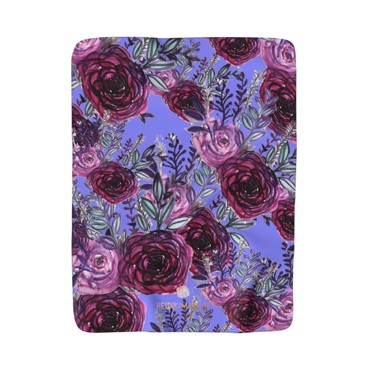 "Cute Purple Rose Flower Floral Print Designer 50""x60"" Sherpa Fleece Blanket-Made in USA-Blanket-50''x60''-Heidi Kimura Art LLC"