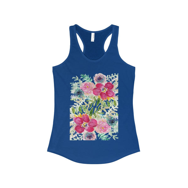 Pink Rose Bouquet Floral Print Women's Ideal Racerback Tank - Made in USA-Tank Top-Solid Royal-XS-Heidi Kimura Art LLC