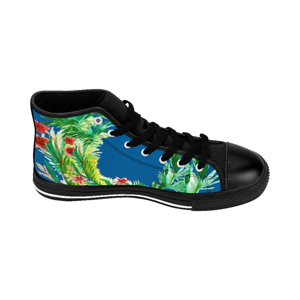 Blue Red Fall Themed Floral Print Designer Men's High-top Sneakers Running Tennis Shoes-Men's High Top Sneakers-Heidi Kimura Art LLC