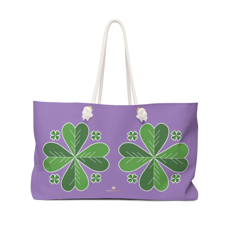 "Purple Green Clover Leaf St. Patrick's Day Irish Print 24""x13""Weekender Bag- Made in USA-Weekender Bag-24x13-Heidi Kimura Art LLC"