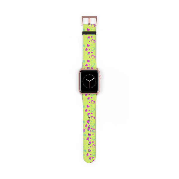 Light Green Pink Hearts Shaped Print Premium 38mm/ 42mm Watch Band- Made in USA-Watch Band-42 mm-Rose Gold Matte-Heidi Kimura Art LLC