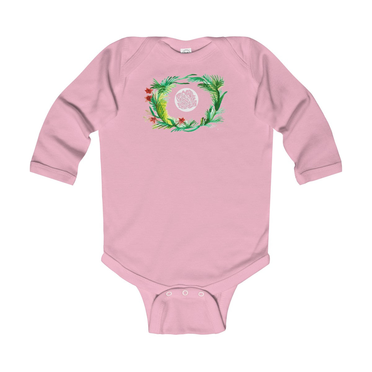 Fall Floral Print Baby's Infant Cotton Long Sleeve Bodysuit -Made in UK (UK Size: 6M-24M)-Kids clothes-Pink-18M-Heidi Kimura Art LLC