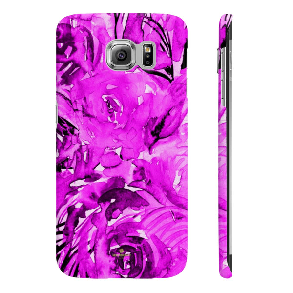 Purple Pink Slim iPhone/ Samsung Galaxy Floral Purple Rose Smart Phone Case, Made in UK-Phone Case-Samsung Galaxy S6 Slim-Matte-Heidi Kimura Art LLC