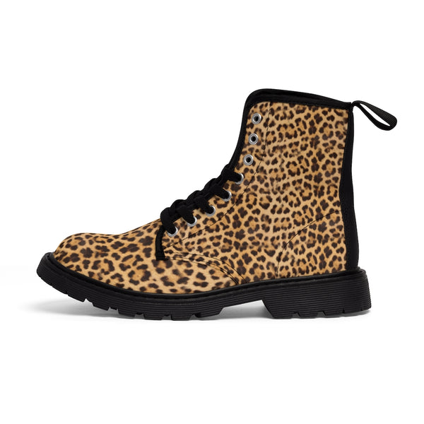 Brown Leopard Women's Canvas Boots, Wild Sexy Leopard Animal Print Winter Boots For Ladies-Women's Boots-Printify-ArtsAdd-Black-US 9-Heidi Kimura Art LLC