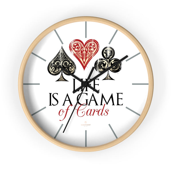 "Large Indoor 10"" dia. Wall Clock ""Life Is A Game Of Cards"" Inspirational Quote - Made in USA-Wall Clock-10 in-Wooden-Black-Heidi Kimura Art LLC"