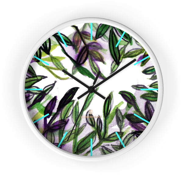 Green Purple Tropical Leaf Print Designer 10 in. Dia. Indoor Wall Clock- Made in USA-Wall Clock-10 in-White-Black-Heidi Kimura Art LLC