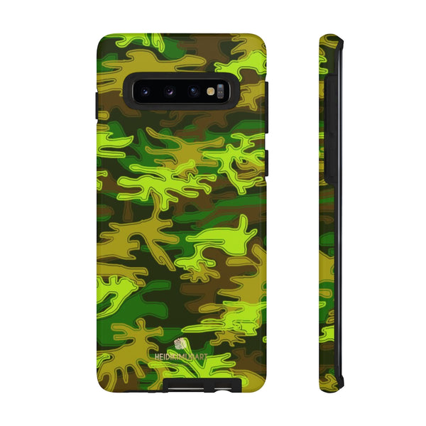 Green Camouflage Phone Case, Army Military Print Tough Designer Phone Case -Made in USA-Phone Case-Printify-Samsung Galaxy S10-Glossy-Heidi Kimura Art LLC