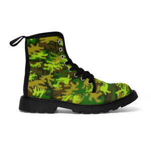 Bright Green Camouflage Military Army Print Men's Canvas Winter Laced Up Boots-Men's Boots-Black-US 9-Heidi Kimura Art LLC Green Camo Men's Boots, Bright Green Camouflage Military Army Print Men's Canvas Winter Laced Up Boots Anti Heat + Moisture Designer Men's Winter Boots (US Size: 7-10.5)