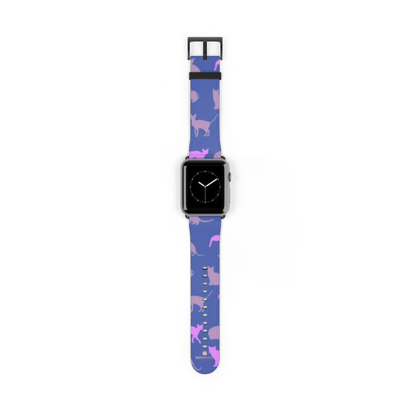 Purple Pink Cats Print 38mm/42mm Premium Watch Band For Apple Watch- Made in USA-Watch Band-42 mm-Black Matte-Heidi Kimura Art LLC