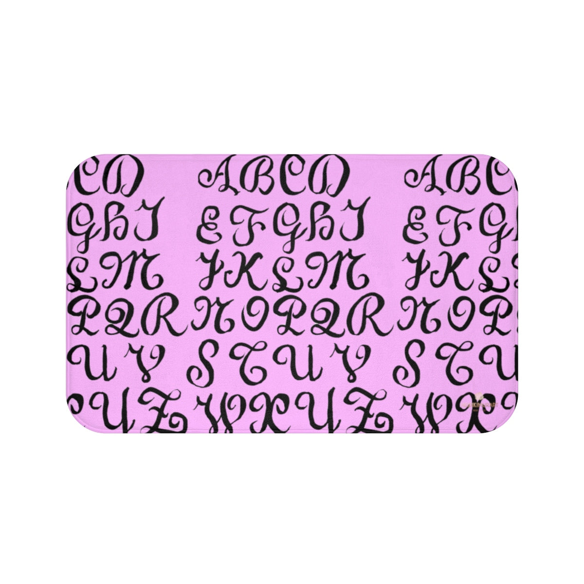 Pink Calligraphy Print Designer Bathroom Anti-Slip Microfiber Bath Mat-Made in USA-Bath Mat-Large 34x21-Heidi Kimura Art LLC
