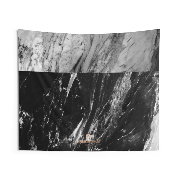 Grey Black Marble Print Designer Indoor Wall Tapestries- Made in USA-Home Decor-60x50-Heidi Kimura Art LLC