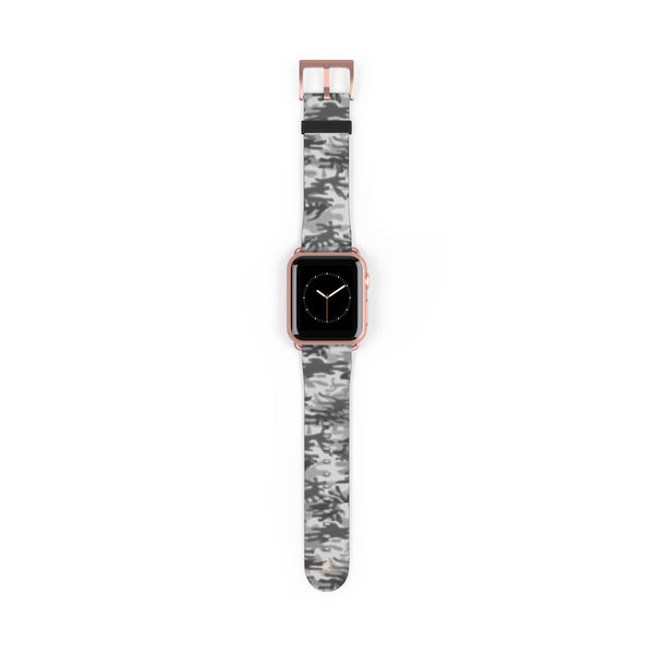 Light Grey Classic Camo Print 38mm/42mm Watch Band For Apple Watch- Made in USA-Watch Band-38 mm-Rose Gold Matte-Heidi Kimura Art LLC