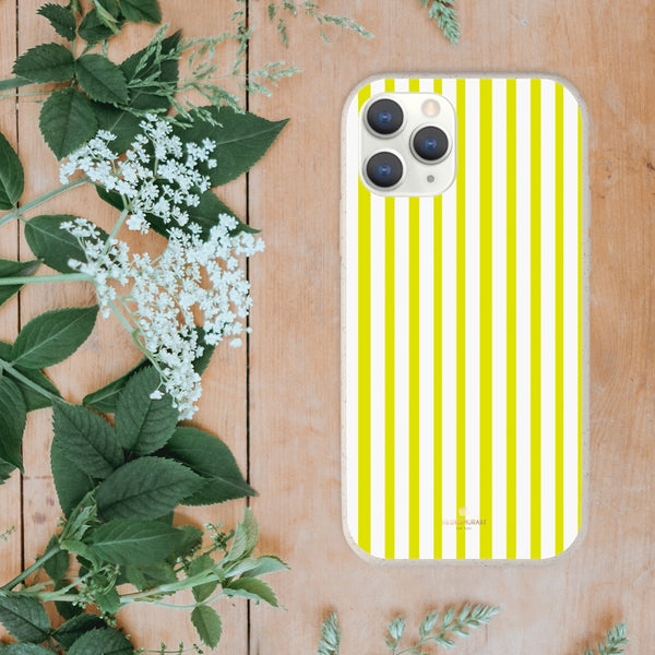 Yellow White Striped Biodegradable Case, Eco-Friendly Compostable Slim Lightweight Phone Case-Phone Case-Printify-WOYC-Heidi Kimura Art LLC